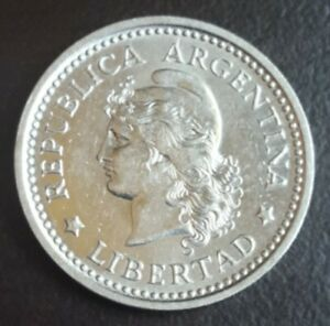 1957 ARGENTINA 1 PESO KM 57 Nickel clad steel