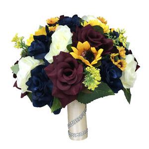 Beautiful Fall Wedding - Navy Blue, Burgundy, Rose & Sunflowers Bouquet Corsage