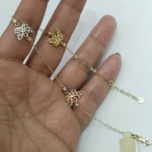 Real 14k white rose yellow GOLD butterfly anklet  9-10 adjustable size