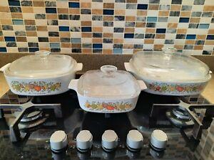 3 x VINTAGE CORNINGWARE Spice of Life Casserole Dishes with Lids Retro Ovenware