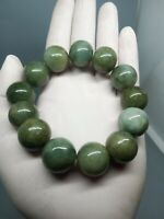 18mm Green Beads Bracelet 100%Authentic Real Natural A Burmese Jadeite Jade