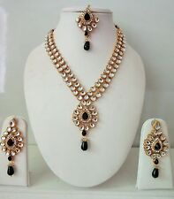 Indian Bollywood Bridal Designer Black Kundan Pearls Fashion Jewelry Sets