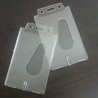 2X Vertical Transparent Hard Plastic Business Credit Card Id Badge Holder ox DD