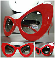OVERSIZE EXAGGERATED VINTAGE 60s RETRO CAT EYE Style SUN GLASSES Thick Red Frame