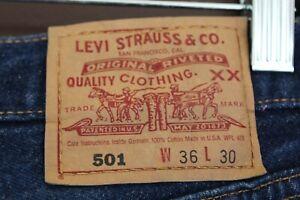 Vintage Levis 501-0115 Men's Denim Blue Jeans 36x30 Made in USA