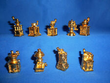 COFFEE Spice GRINDERS Gold Brass Set 9 Miniature Figurines FRENCH Metal FEVES