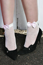 Cute Womens WHITE Nylon Fishnet Ankle Socks with PINK POKKA DOT BOW AUSSIE SELL