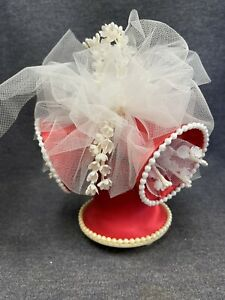 Vintage Coast Wedding Topper Red Bells Tulle & Tiny Flowers Pearls 1965