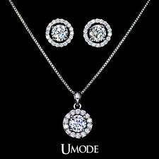Jewelry Set Women Including 1 Pair Small Cute CZ Stud Earrings and Chain Pendant