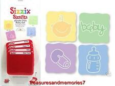 Sizzix Sizzlits BABY SET 4 Dies FACE DIAPER PIN BOTTLE WORD, BABY RETIRED HTF