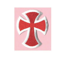 Cross - Christian - Church - Embroidered Red & White Iron On Applique Patch