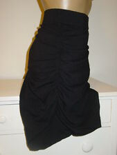 Lane Bryant black stretch knit skirt runched sides tummy control panel lined-28