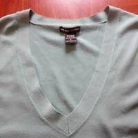 New York & Co Women's Size L Knit Top Sage Green Lightweight Short Sleeve Career