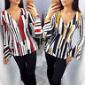 Women Casual Floral Zip V Neck Flare Bell Long Sleeve T-shirt Blouse Tunic Top