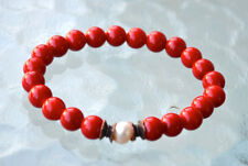 Red Coral Fresh Water Pearl Wrist Mala Beads Bracelet - Attract love Assists