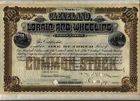 Cleveland Lorain & Wheeling Railway Company Stock Certificate Ohio Railroad