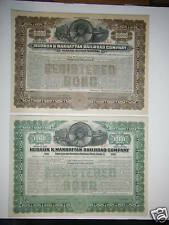 Hudson & Manhattan Railroad Company PAIR $1,000 Bonds !