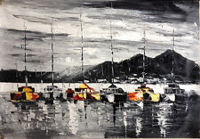 Boats Fine Art Oil Painting 30x20 Knife style heavy paint Abstract Impressionist