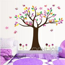 Colorful 4 Owl Butterfly Tree Wall Decal Removable Sticker Kids Nursery Decor