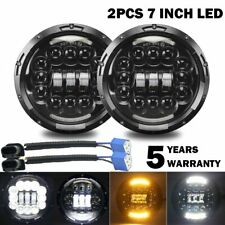 2x180W DOT E-mark 7inch Round Black Cree Led Headlight Hi-Lo Beam DRL Turn Lamp
