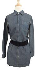 THEORY Nancy shirt dress sz 0 XXS Cotton linen denim Pelican blue