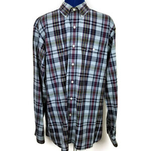 Ralph Lauren Shirt Mens L Blue Red Plaid 100% Cotton Button-Front Long Sleeve