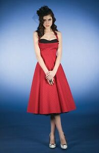 Stop Staring Red Polkadot Halterneck Dress Size UK S (US L)