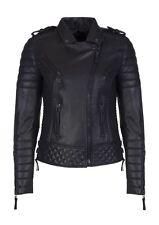 Boda Skins ~ Oil Black Leather Kay Michaels Women's Moto Jacket ~ Size 8 ~ NWT