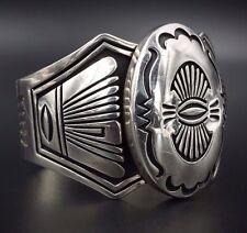Navajo Steven J Begay Sterling Silver Geometric Cuff Bracelet 92g SJB BS1194