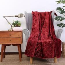 Better Homes & Gardens Crushed Velvet Throw Blanket Dark Red NEW