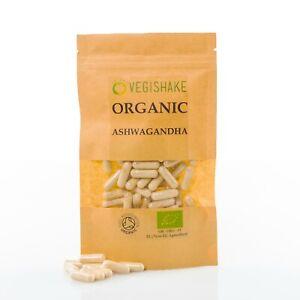 Organic Ashwagandha Capsules Vegan Halal Kosher Body Stress Relief