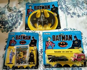 BNIP 1989 ERTL BATMAN DIE-CAST TOY MODELS BATWING BATMOBILE JOKER