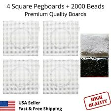 4 Large Square Perler Fuse Beads Peg Boards Pegboards + 2000 Bead kids Craft Set