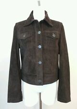 Tommy Hilfiger Womens Brown Suede Leather Button Front Lined Jacket Size Medium
