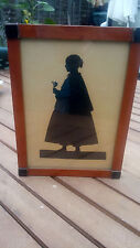 Vintage Antique Hand Cut Full Lenght Silhouette Woman with Large Gown with Rose