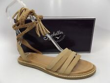 Seychelles Womens Botanical Ankle Wrap Dress Sandal Taupe Leather SZ 8.0 M D7382