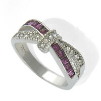 Fashion WOmens Purple Amethyst CZ Criss Cross Ring Band Jewelry Gift Size 6-10