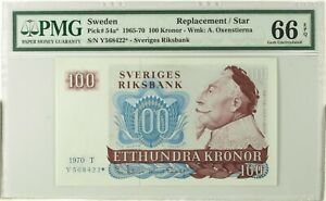 PMG 66 Sweden 1965-1970 Replacement/Star Banknote 100 Kronor EPQ