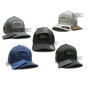 Flexfit Detachable Patch US Flag Hat Ultrafiber Mesh Cap Tactical small On Side