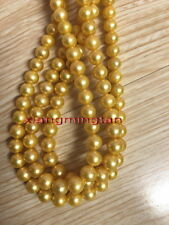 "LONG AAAAA 36""10-11MM natural round south sea golden pearl necklace 14K gold"