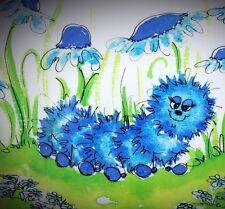 Vintage 70's Signed Hildi Fuzzy Blue Anthropomorphic Caterpillar in Flower Field