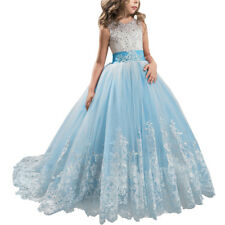 Flower Girl Princess Dress Maxi Long Lace Gown for Kids Party Wedding Bridesmaid