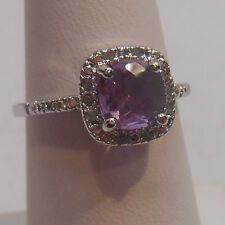 Vintage Estate~Amethyst & 0.10 ct Diamonds 925 Sterling Silver Halo Ring Size 8