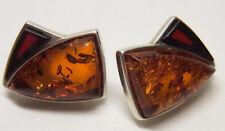 ART DECO ART NOUVEAU AMBRE AMBER Boucles d'oreille argent 925 earring Nº 52