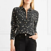 Equipment Signature Star Womens 100% Real Silk Blouse Black White Lady Shirt