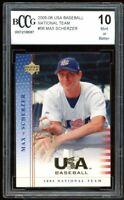 2005-06 USA Baseball National Team #56 Max Scherzer Rookie Card BGS BCCG 10 Mint
