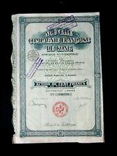 NOUVELLE COMPAGNIE FRANÇAISE DE KONG ACTION 100 FRS COTE D'IVOIRE 1926