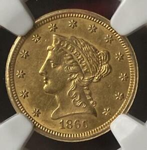 1866 S Gold $2.5 Quarter Eagle NGC AU 55