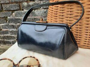 Vtg Original Lennox Bags Art Deco Black Leather Ladies Gladstone Grab Hand Bag.