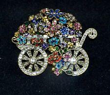 New $200 HEIDI DAUS Petal Pusher Flower Cart Pin Brooch Alice Looking Glass